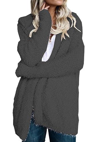 La Mujer Invierno Outwear Trinchera Abrigos Con Capucha Casual Frente Abierto