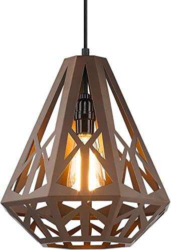 Hanging Light Fixture, VICNIE Farmhouse Pendant Light with Adjustable Height Foyer Lighting in Oil Rubbed Bronze Finish