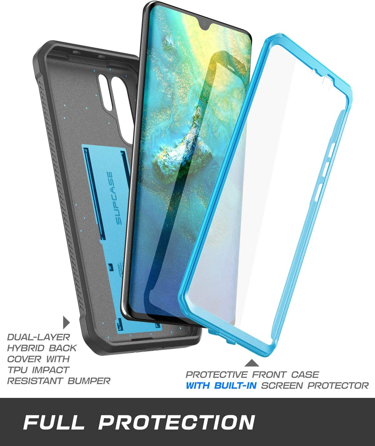 Unicorn Beetle Pro Series , 2019 Release SUPCASE Huawei P30 Pro Case Full-Body Dual Layer Rugged with Holster /& Kickstand Black