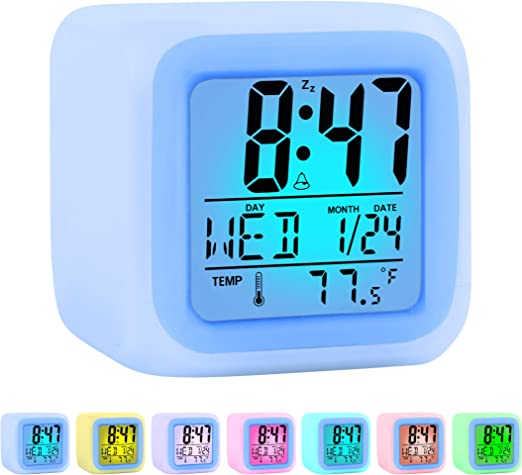 LED Night Light Digital Projection Alarm Clock Snooze Home Decor Christmas Gift