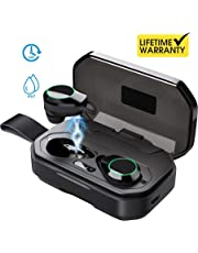 Updated 2019 Version Wireless Headphones, Bluetooth 5.0 True Wireless Earbuds IPX7 Waterproof Built-in Mic Headset Premium Sound 【Total 120 Hrs Playtime】  with 3000mAh Charging Case for iOS, Android