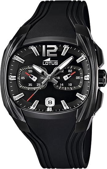 Lotus 15757-1 - Reloj analógico de cuarzo para hombre con correa de caucho, color negro: Lotus: Amazon.es: Relojes