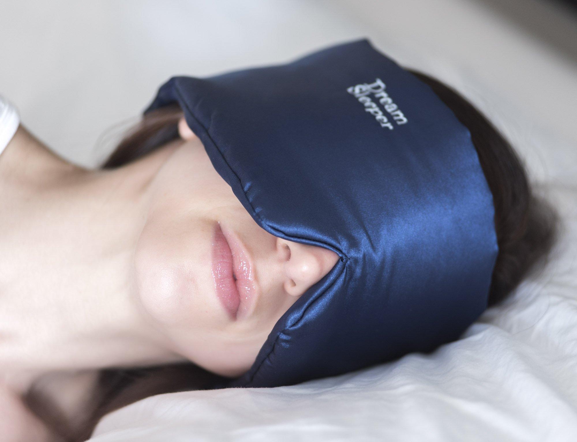 Sleep Mask Best Sleeping Eye Mask for Women Men Navy Silk with Velcro Strap Yoga/Travel Blackout Shades Lifetime Replacement Assurance. by Dream Sleeper