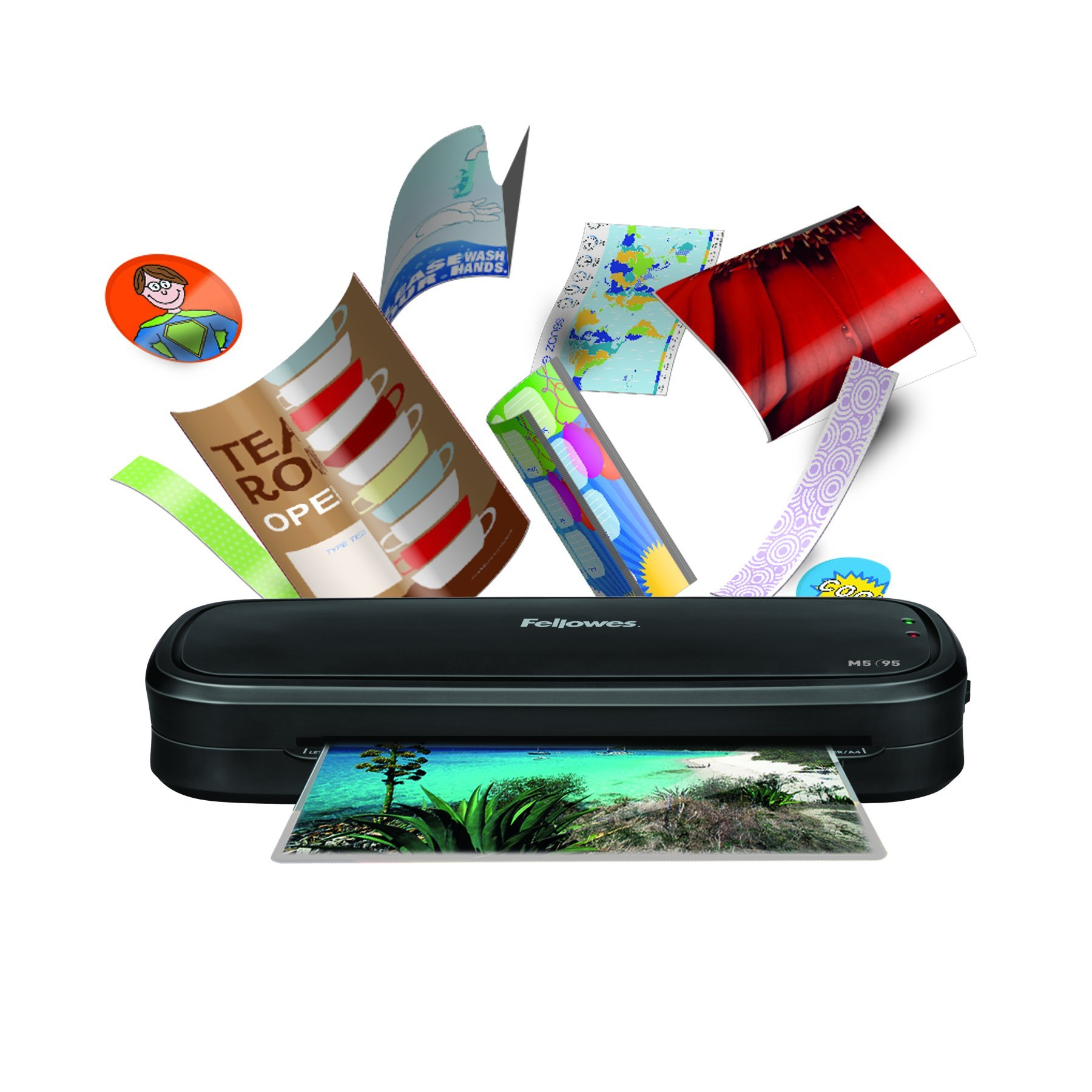 Fellowes 3 Minute Warm Up Document and Photo Laminator M1-95, 9.5-Inch with 10 Pouches, White