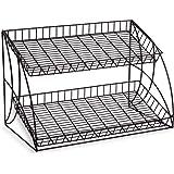 Displays2go Metal Wire Rack with 2-Tier Open Space Shelves, Black
