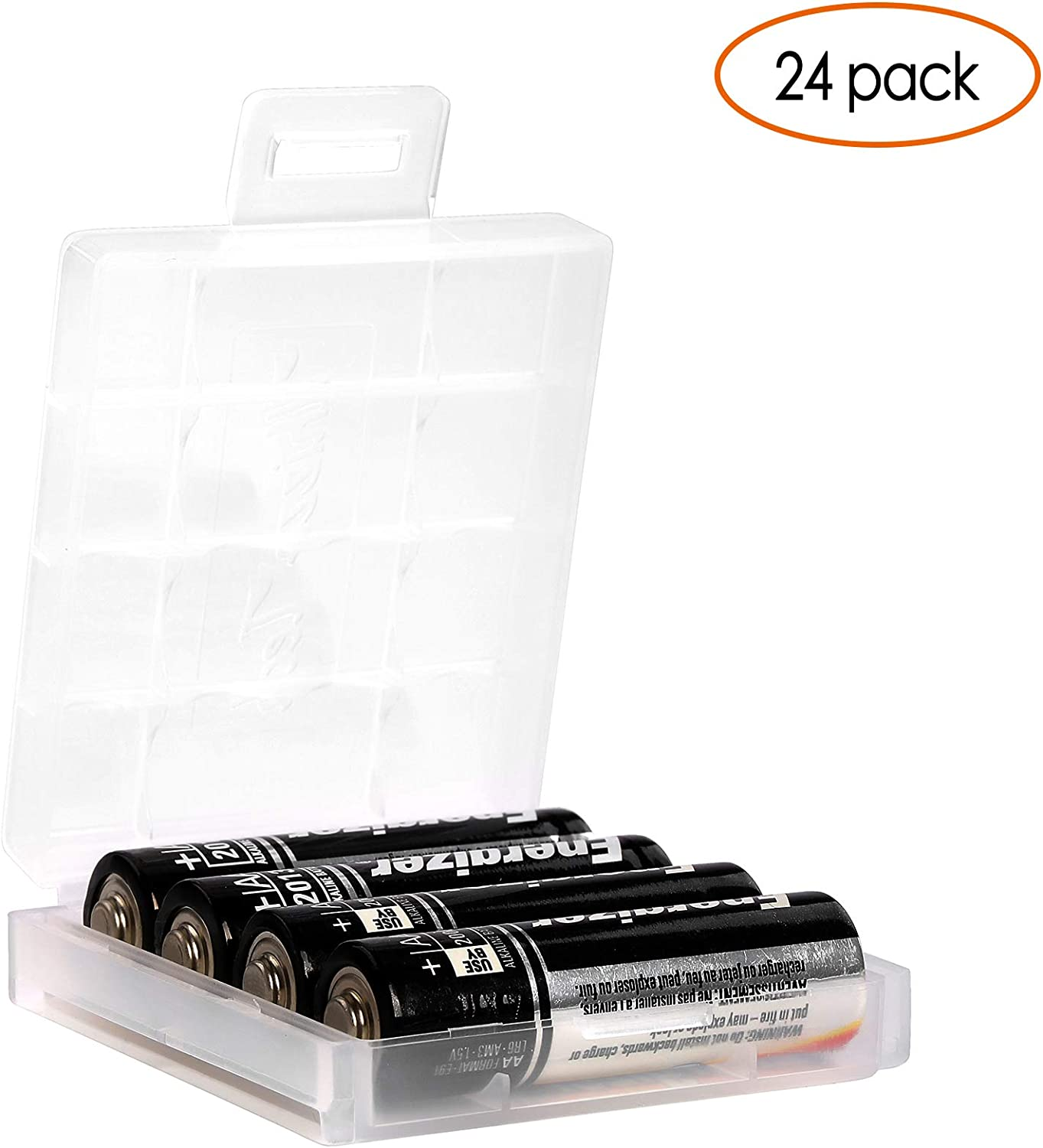 Whizzotech AA//AAA Cell Battery Storage Case//Holder with Charge Reminder Markings Clear Color 12 Pack