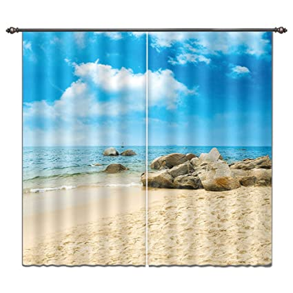 Amazon Com Lb 3d Curtain Drapes Ocean Theme By Window Curtain For