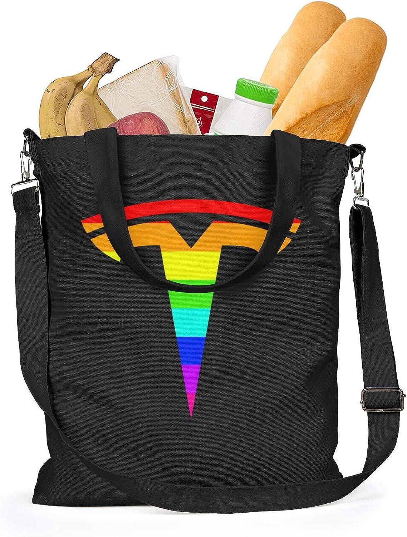 Womens Canvas Handbags Tesla-Logo Beach Shoulder Bag Casual Crossbody Bags
