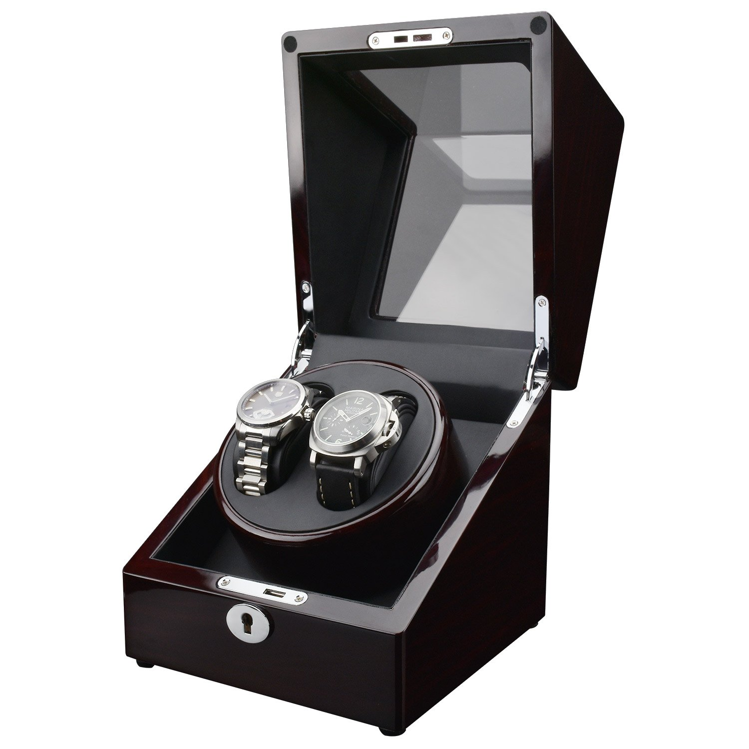Zeiger Watch Winderボックスケースwith静か自動Japaneseマブチモーター Double Watch S005-FBA B01MSYVU7P Double Watch,Berry/Black