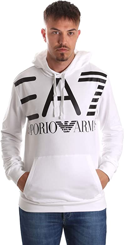 promo code 3c25e eb305 Emporio Armani Felpa in Puro Cotone con Maxi-Logo EA7 con Cappuccio bianca  (s)