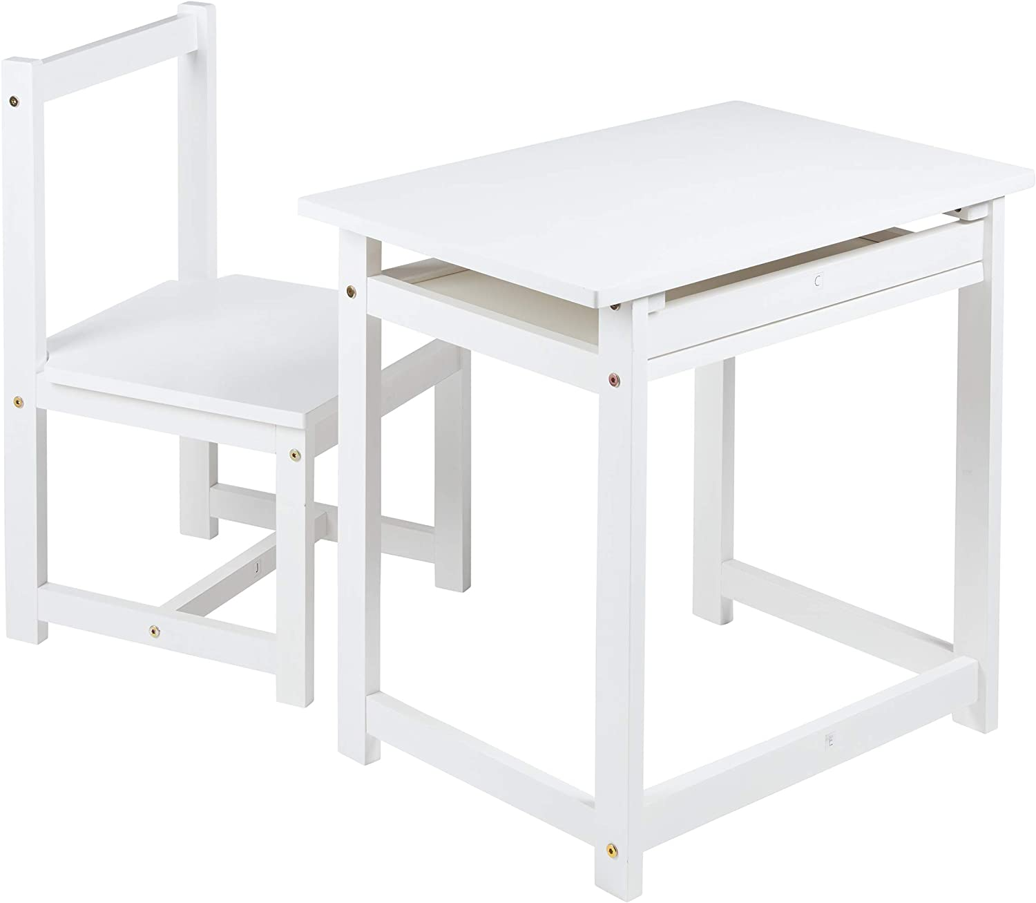 Amazon Com Amazon Basics Solid Wood Kid Desk And Chair White Furniture Decor