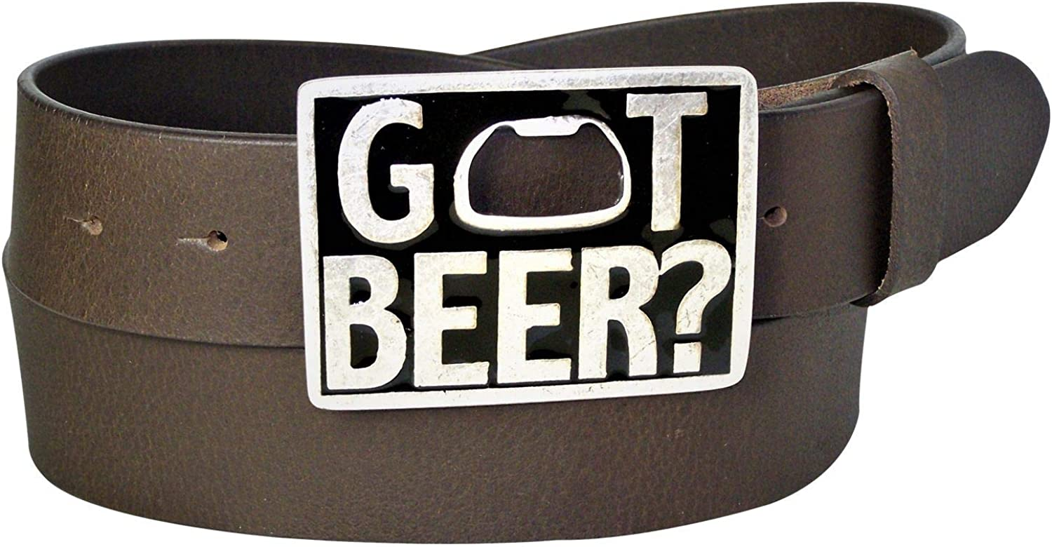 unisex bottle opener belt buckle FRONHOFER 100/% buffalo leather Got Beer belt