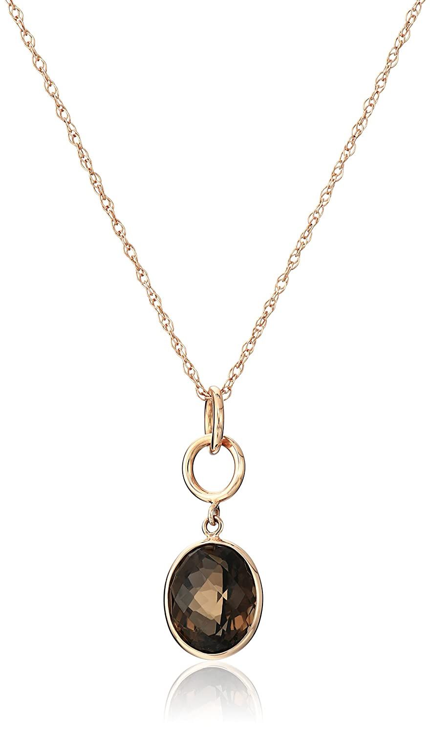 10k Rose Gold Contemporary Bezel Set Design Double Interlock Circle Oval Smoky-Quartz Pendant Necklace, 18""