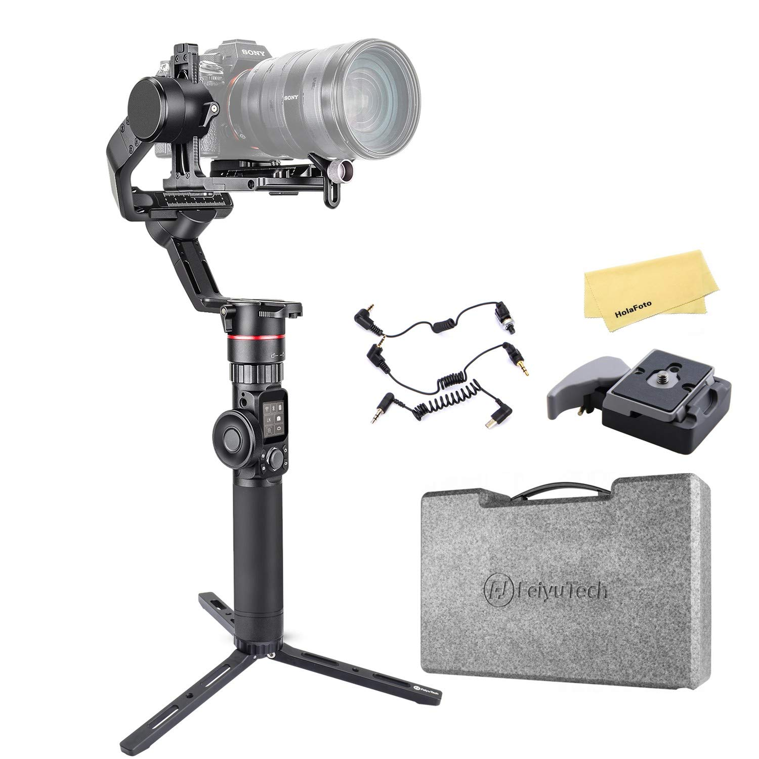 Feiyu AK2000 3 Axis Gimbal Stabilizer for Sony a9 a7 ii a6500 Series Canon 5D Panasonic GH5 GH4 Nikon D850 Mirrorless and DSLR Digital Camera, Smart Touch Panel WiFi Bluetooth Connection 2.8kg Payload by FeiyuTech