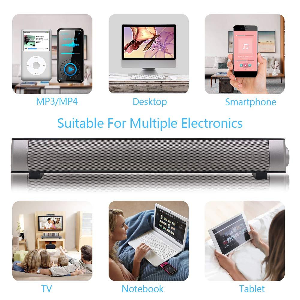Soundbar TV Sound bar 3D Surround Sound Speaker Mini Soundbar Home Theater with Remote Control Dual Connection Methods for TV PC Smartphones Music and Movie