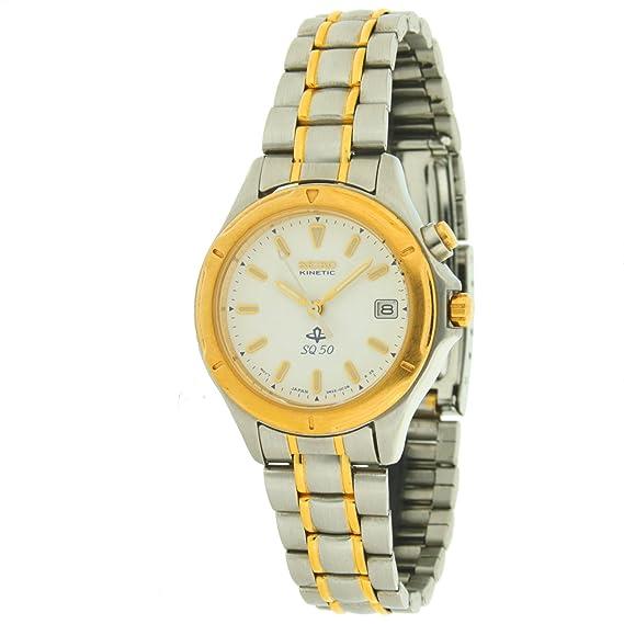 SEIKO KINETIC SQ 50 - Reloj analógico de mujer automátioc. Bicolor: Amazon.es: Relojes