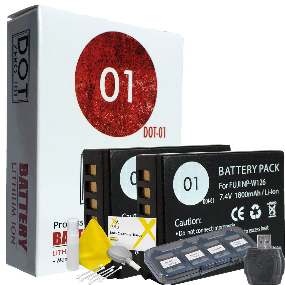DOT-01 2x Brand Fujifilm X-A5 Batteries for Fujifilm X-A5 Mirrorless and Fujifilm X-A5 Battery and Charger Bundle for Fujifilm NPW126 NP-W126