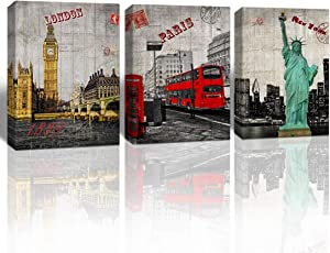 A Cup of Tea Red Car Paris /London Big Ben/New York Statue of Liberty Europe Buildings Picture Canvas Painting National Landmark Tourism Home Decor (12x16inchx3pcs,Framed)