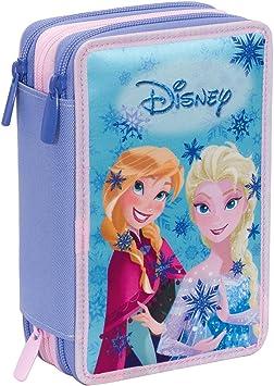 Estuche 3 Cremalleras Disney , Frozen Magic Lights , Azul , Pisos con Contenido: Lápices, Rotuladores, Boligrafos ...: Amazon.es: Equipaje