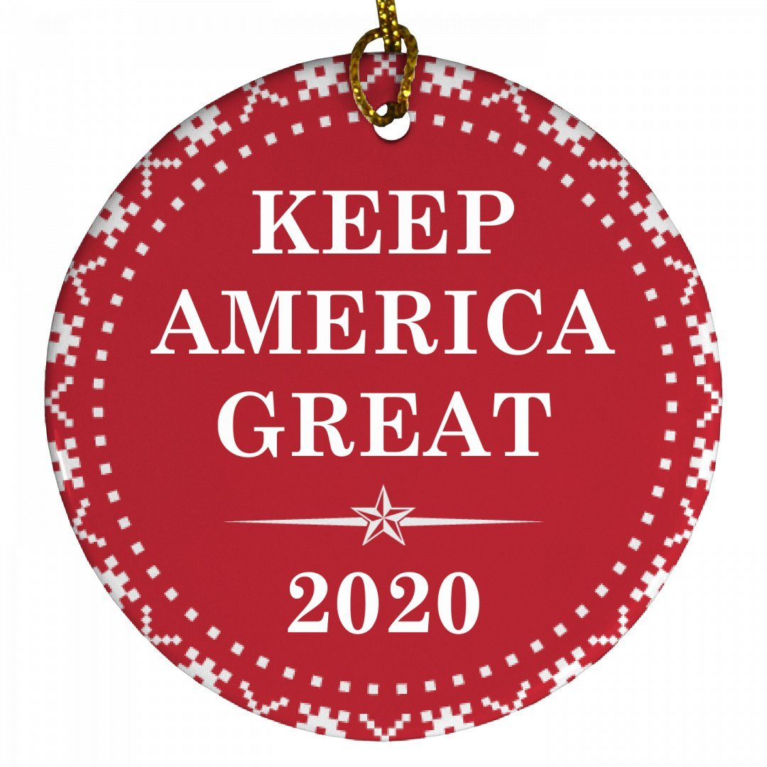 Keep America Great Trump 2020: Porcelain Circle Ornament by FUNNYSHIRTS.ORG (Image #1)