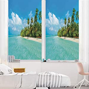 "Ocean 3D No Glue Static Decorative Privacy Window Films, Tropical Island Photo with Sandy Beach and Palm Tree Nature Exotic Holiday Theme,24""x36"",for Home & Office Decor,Turquoise Green White"