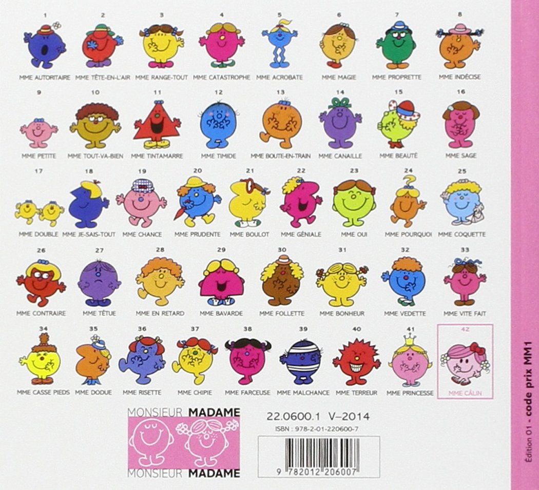 Collection Monsieur Madame Mr Men Little Miss Mme Calin