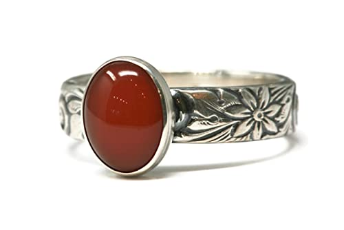 4.78 ct Oval Carnelian Agate Ring Simple Floral Filigree Sterling Silver