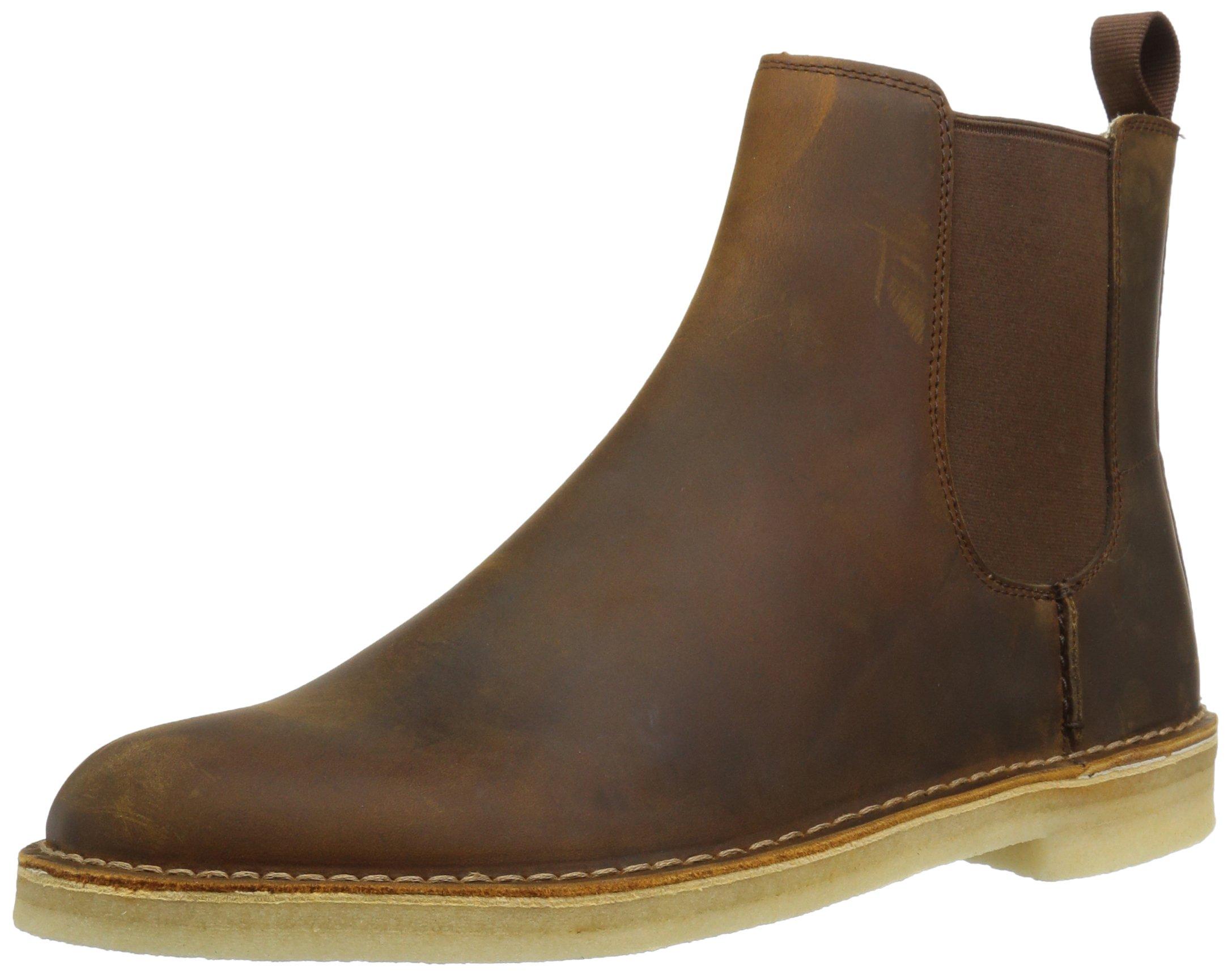 CLARKS Men's Desert Peak Chelsea Boot, Beeswax Leather, 11 Medium US