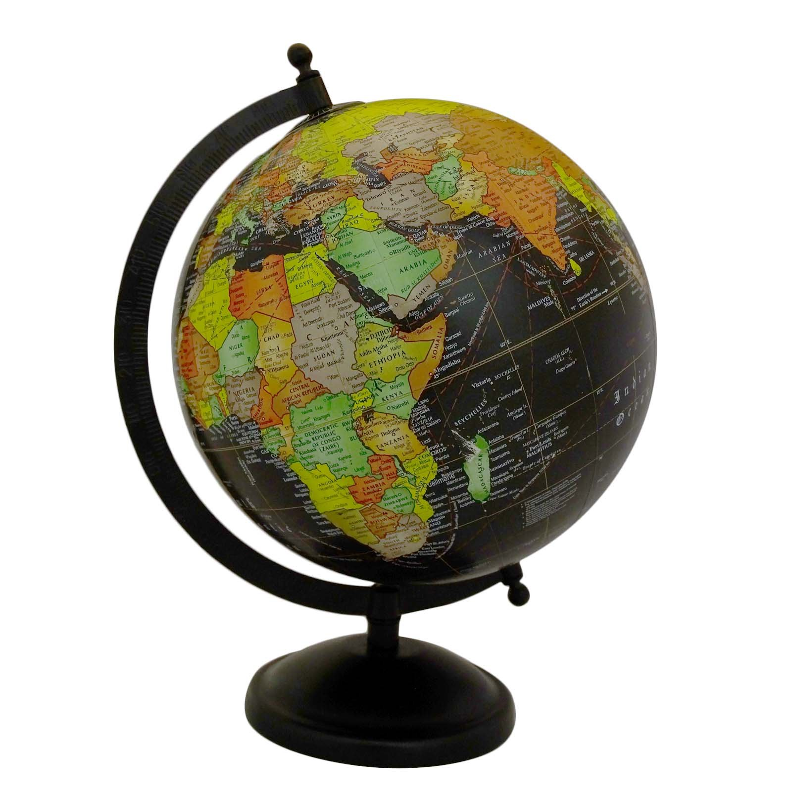 Desktop Rotating Globe Table Décor World Earth Black Ocean Geography 11.2'' by Uniworld (Image #1)