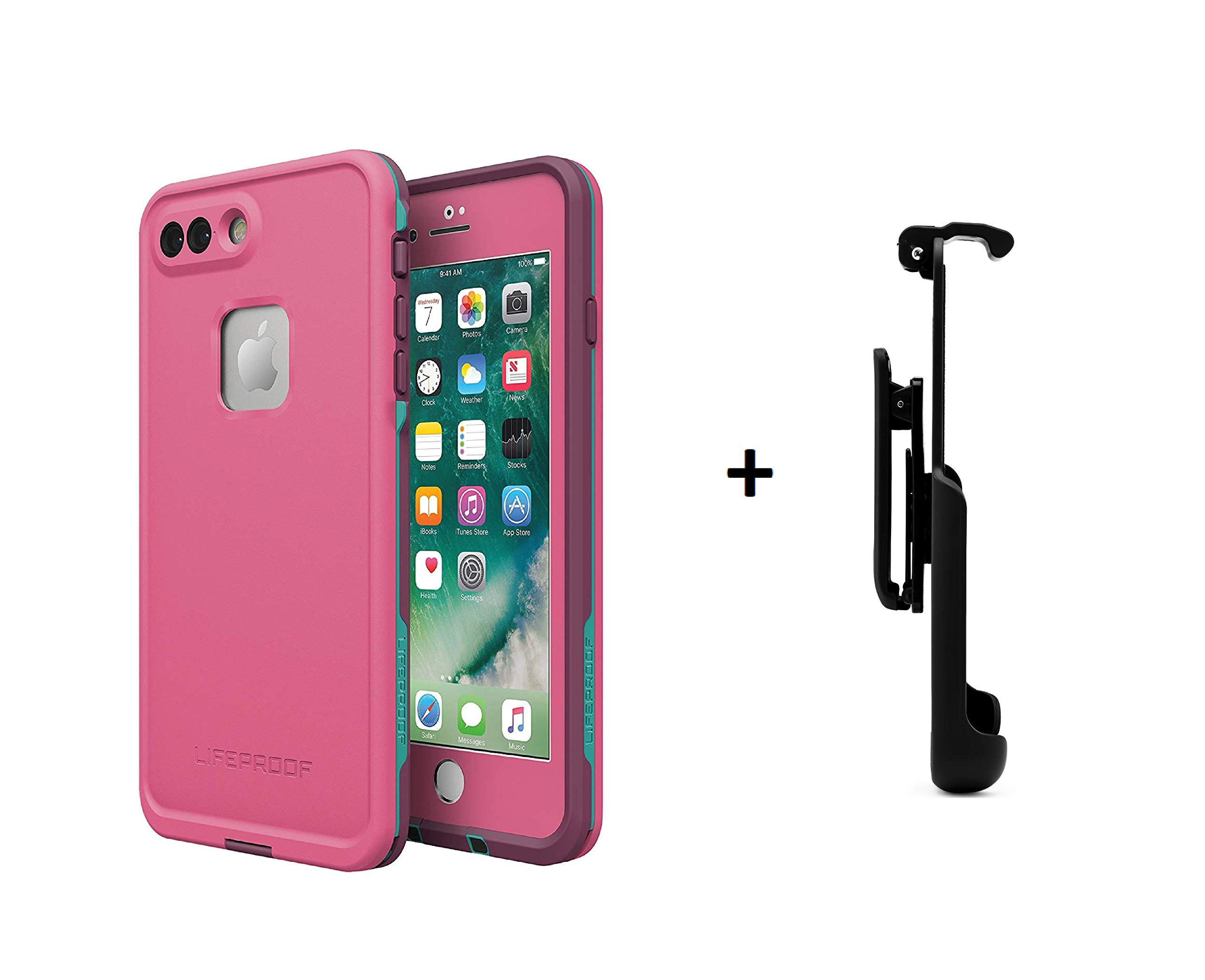 Lifeproof FRĒ Series Waterproof Case for iPhone 8 Plus & 7 Plus (ONLY) - Retail Packaging (Twilight Edge + Belt Clip)