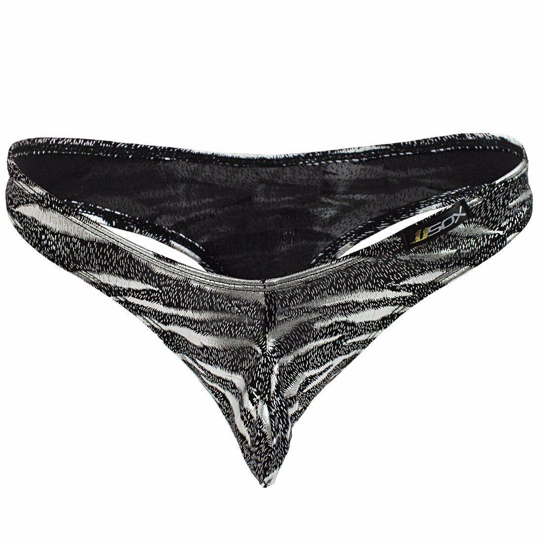 010ad0c2905 FEESHOW Men s Zebra Striped G-String Slip Thong T-Back Briefs Underwear  Silver X-Large (Waist 30.0-38.5