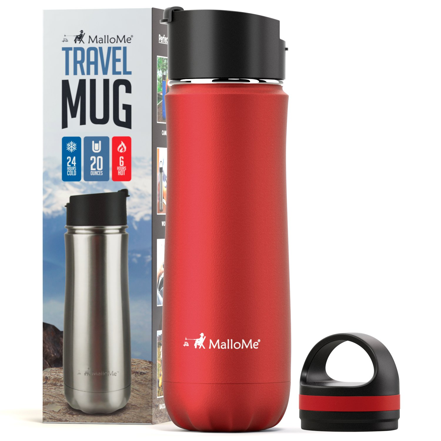 MalloMe Stainless Steel Coffee Travel Mug – 20 oz Vacuum Insulated Water Bottle Thermos Flask Cup Combo – Triple Walled Tumbler, 7 Colors, Two BPA Free Leak Proof Lids Included TRMug-Black