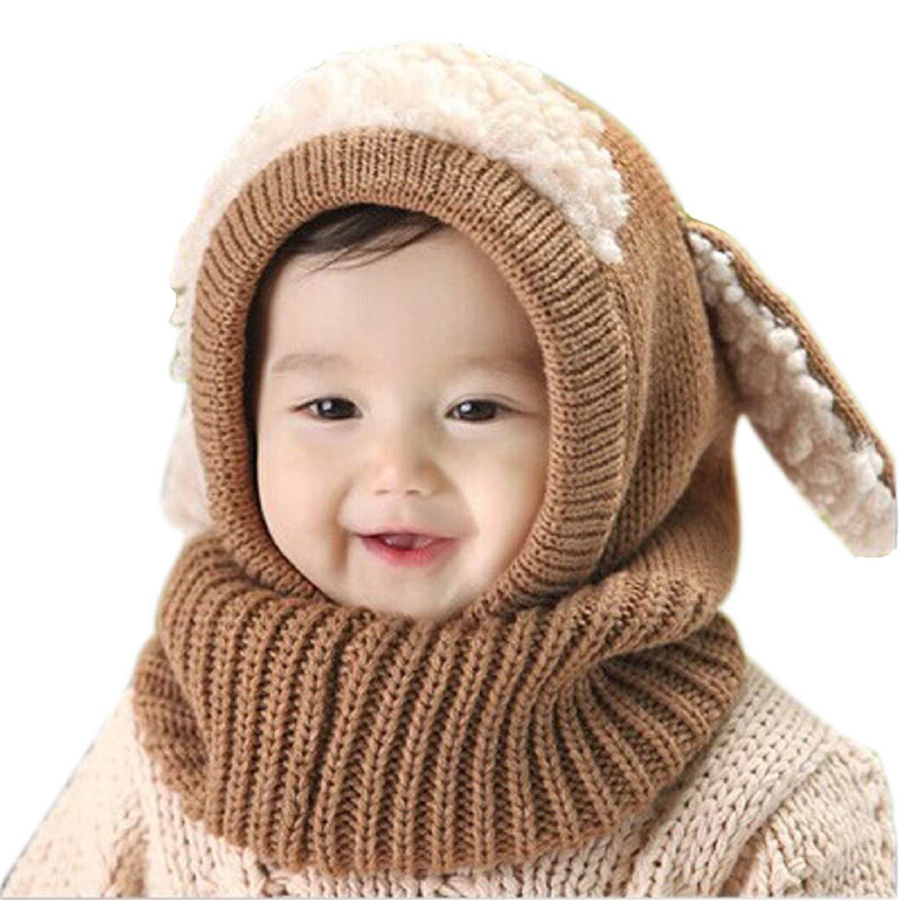 GUIGSI Inverno del bambino delle ragazze dei capretti dei ragazzi di lana caldo Coif Hood sciarpa ricopre i cappelli