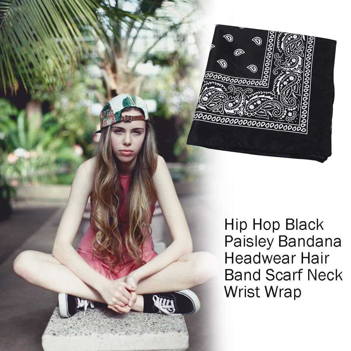 Corneliaa 1 UNID Unisex Hip Hop Negro Paisley Bandana Headwear Banda para el Pelo Cuello de la mu/ñeca Mu/ñeca Wrap Band Headtie Bufanda Cuadrada