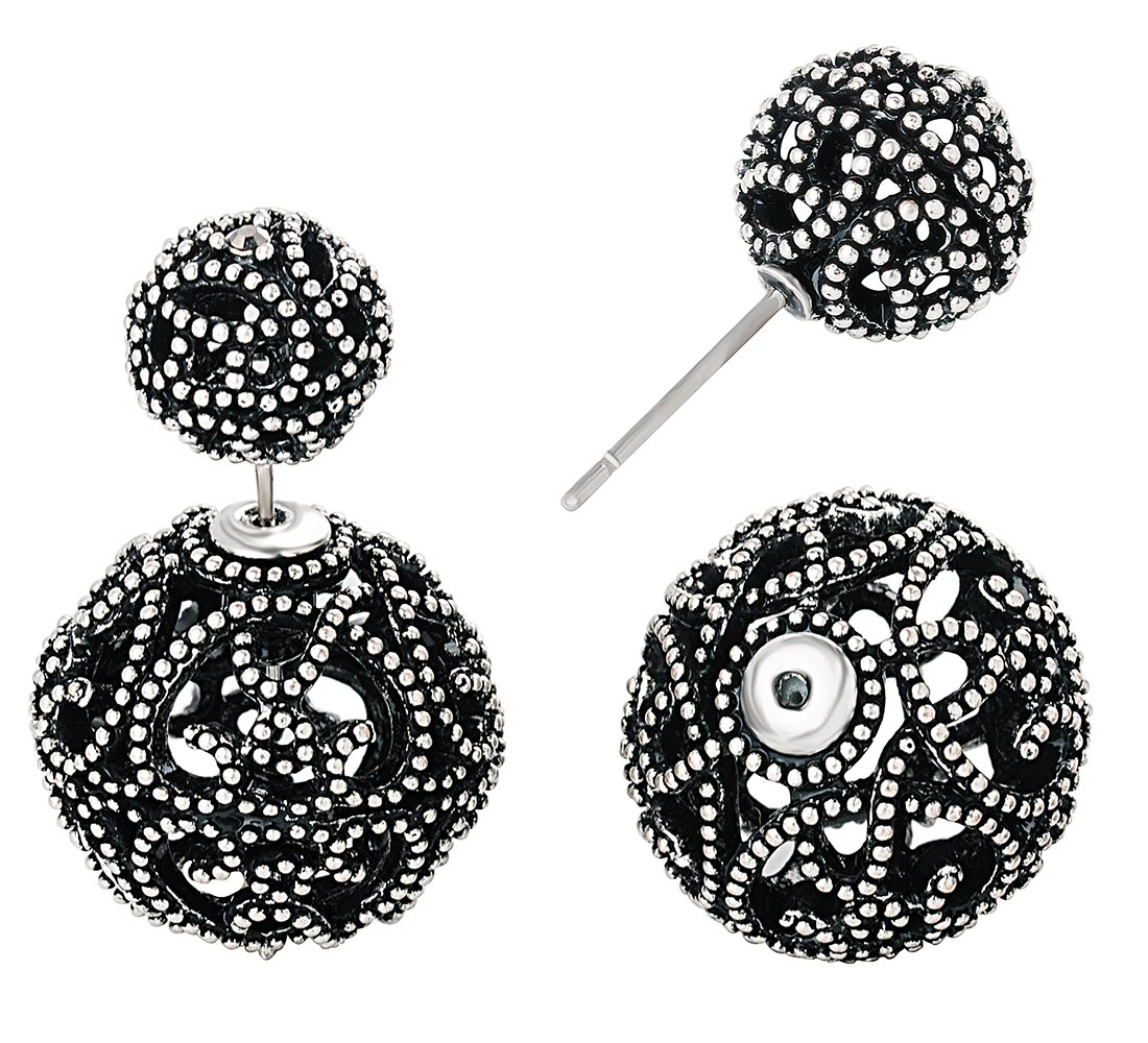 She Lian Vintage Hollow out Womens Double Side Round Ball Stud Earrings(Antique Silver Tone)