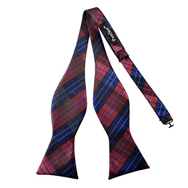 3c1ff724bab6 Image Unavailable. Image not available for. Colour: Pensee Mens Self Bow Tie  Plaids & Checked Jacquard Woven Silk Bow Ties-Various Colors