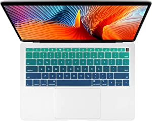 Batianda Gradient Color Keyboard Cover for New 2019 2018 MacBook Air 13 inch (with Touch ID Retina Display) Model:A1932 Ultra Thin Silicone Keyboard Protector Skin (Green)