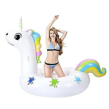 Grefay Unicornio Inflable Gigante, Piscina Flotador Balsa Cama Flotante de Verano Recreación Acuática Leisure Lounger Beach, Adultos y Niños 2-3 ...