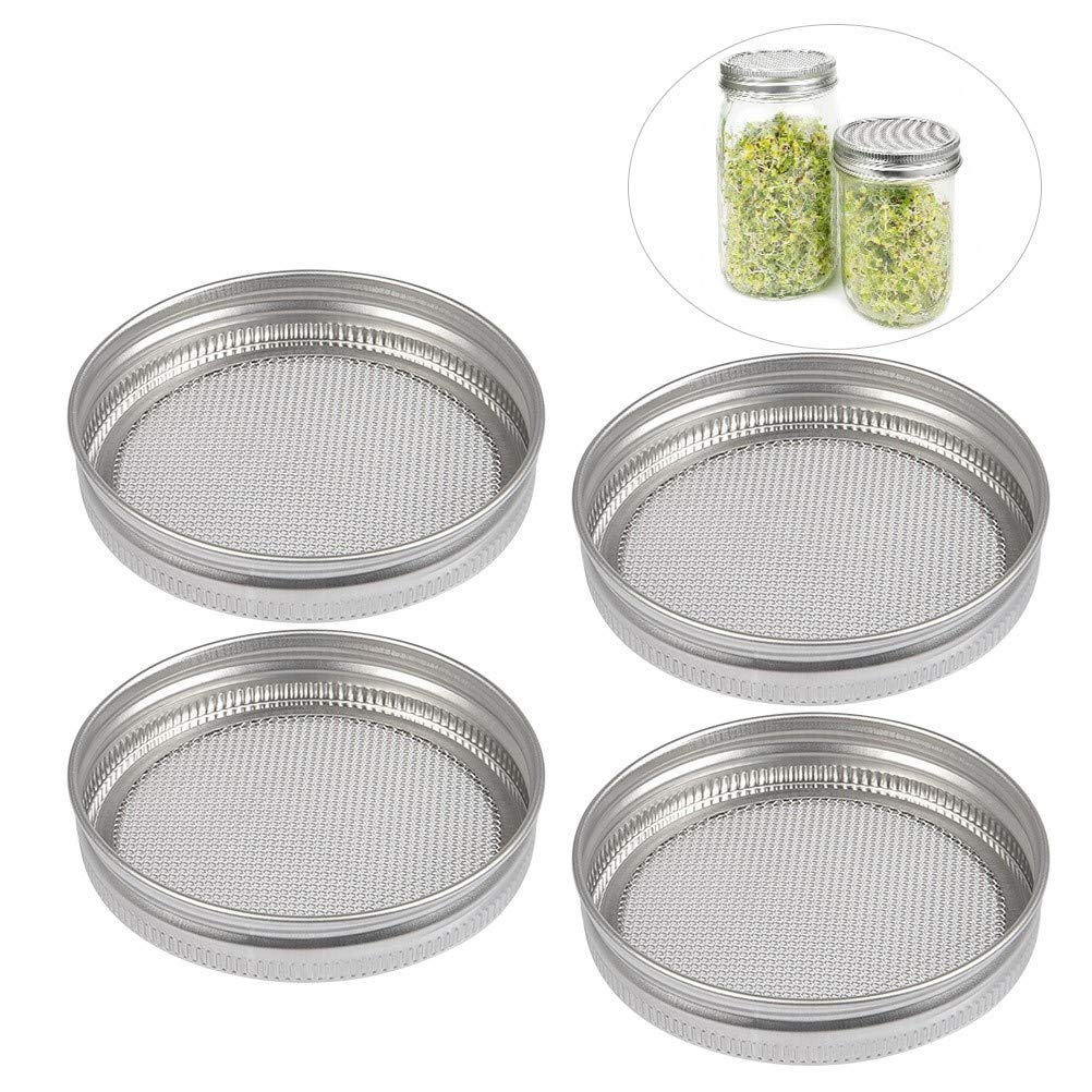 BUYGOO Stainless Steel Sprouting Lids for Wide Mouth Mason Jars 4 Pack, Strainer Lid for Canning Jars and Seed Sprouting Screen in Your House/Kitchen