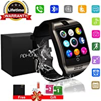 Smart Watches, Bluetooth Smart Watch Android Touchscreen with Camera, Phone Smartwatch with SIM Card Slot Waterproof Smart Wrist Watch Campatible Cell Phone IOS iPhone Samsung for Man Women Kids (Black Q18)