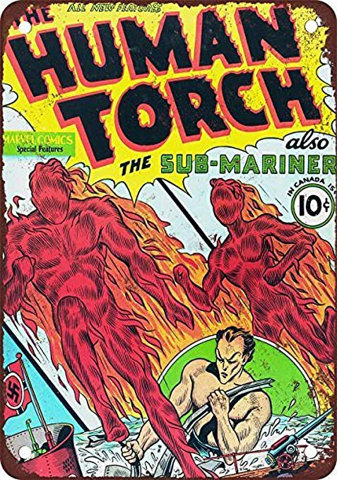 Fluse Human Torch #2 Vintage Metal Art Chic Retro Metal ...