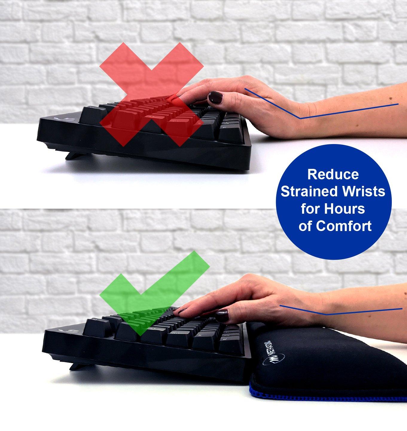 "XL Keyboard Wrist Rest/Wrist Pad, TENKEYLESS 14.5"" Long x 4"" Wide x 1"" Thick Padded Water Resistant, Ergonomic Memory Foam Gel, Anti-Fray Stitched Edges, Anti-Slip Rubber Base, Black | by Metratonic by Metratonic (Image #8)"