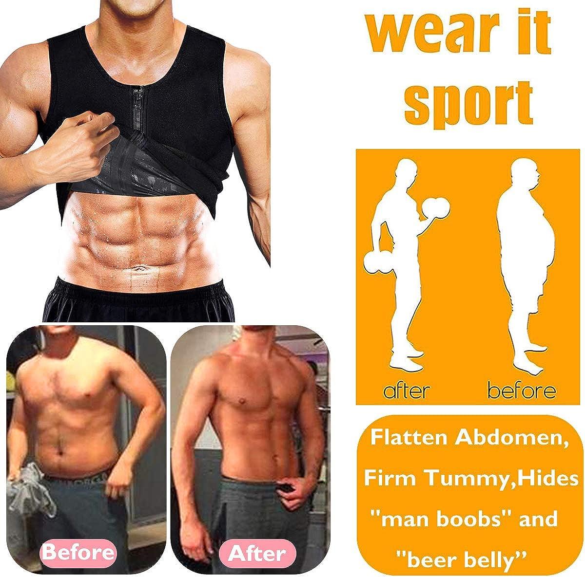 Herren Taillentrainer Sauna Weste Schwitzen Body Shaper Polymer Gewichtsverlust Rei/ßverschluss Tank Top Premium Workout Shirt