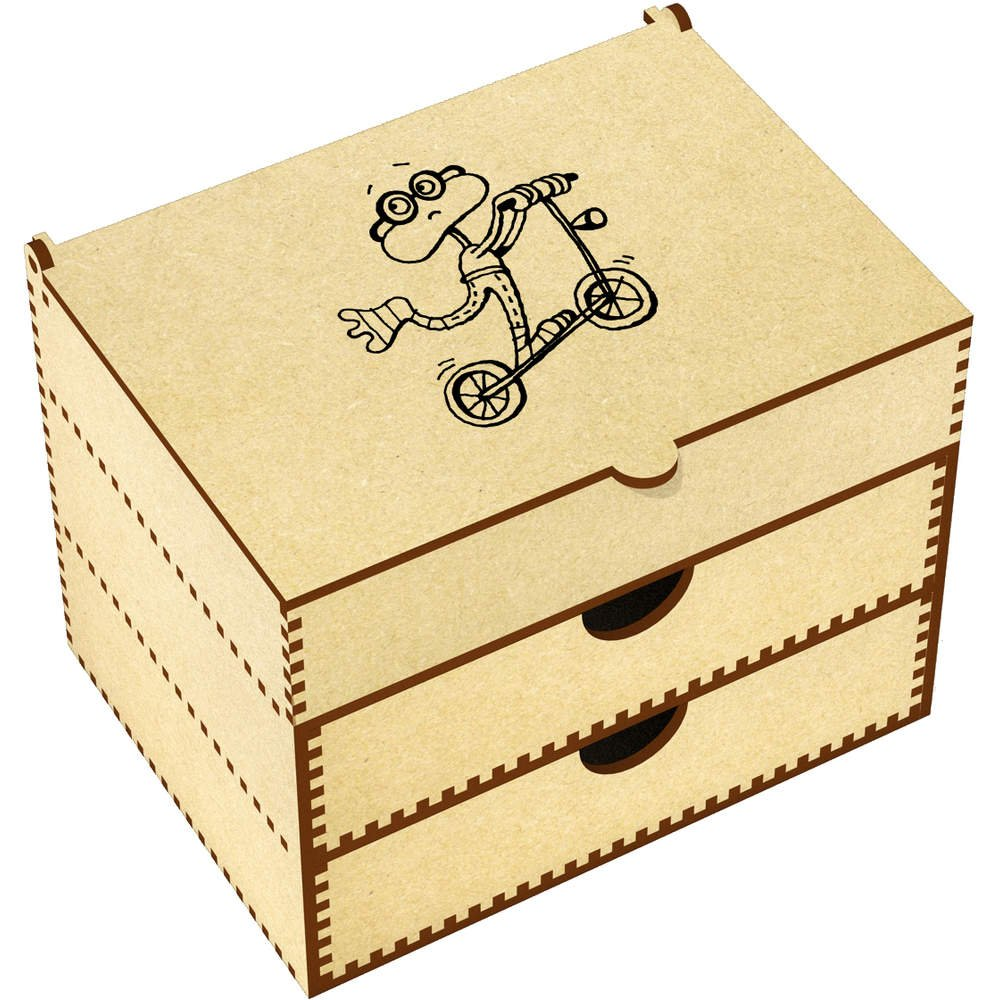 Azeeda 'Frog On A Scooter' Vanity Case / Makeup Box (VC00007968)