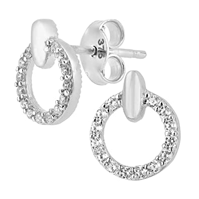Citerna 9 ct Stud Earrings with CZ Stones in Round Design w3FaLj