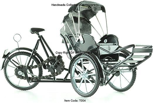 Bicicleta de 3 ruedas Xich Lo- de metal, hecha a mano, color negro, modelo T004: Amazon.es: Hogar