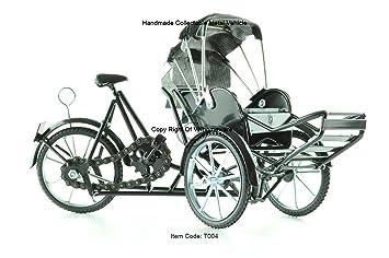 Xich-Lo Bicicleta de 3 ruedas, modelo de metal, hecho a mano, color negro, T004: Amazon.es: Hogar