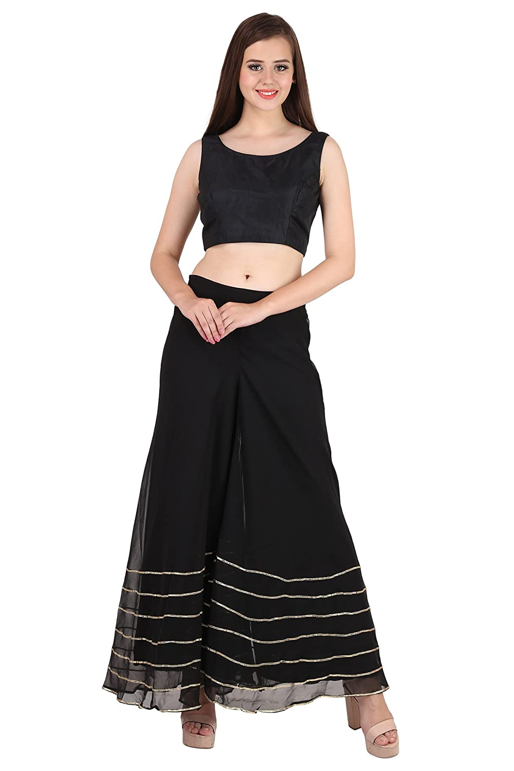 d2535b2ef608 Shararat Women's Palazzo Pant Georgette Loose Wide Lace Work High Waist  Sharara Black at Amazon Women's Clothing store: