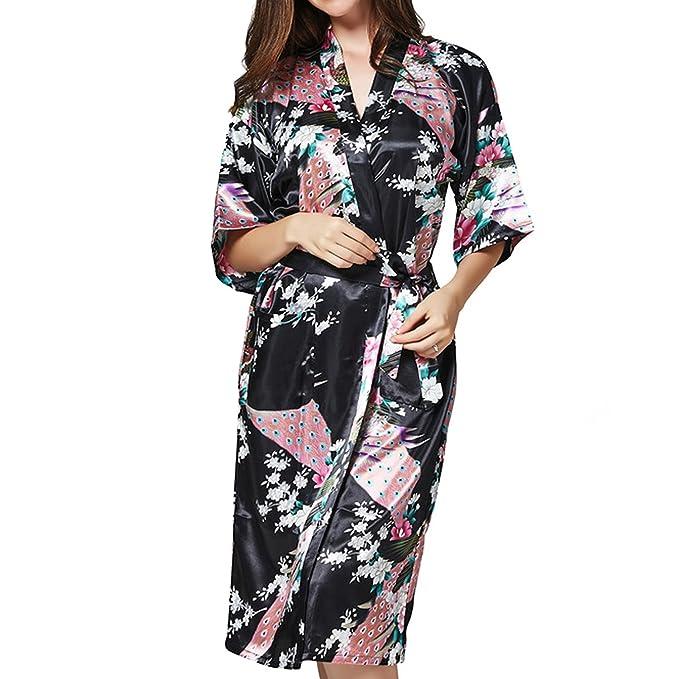 Amazon.com: unique-shop Mujer Kimono Túnica Pijama Vestido ...
