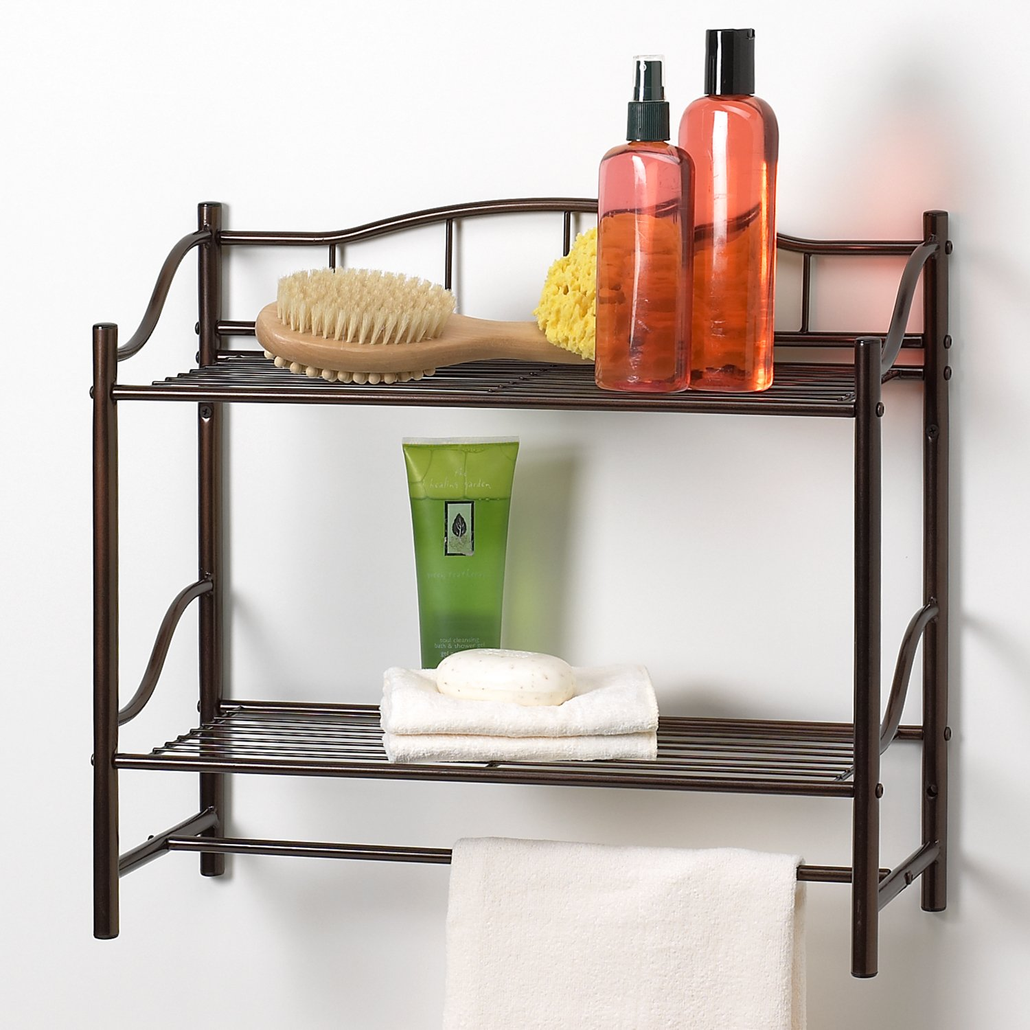 bathroom 2 shelf organizer towel bar wall mounted caddy oil rubbed bronze modern
